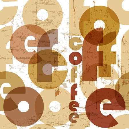 clustered: retro coffee seamless pattern, tag cloud, vector illustration