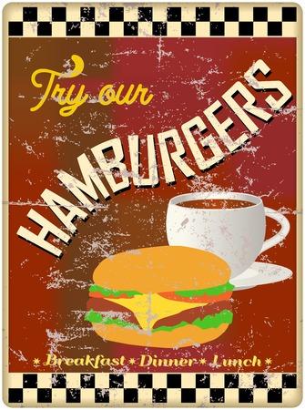 worn sign: hamburguesa retra  signo comedor, desgastado y degradado, eps vector