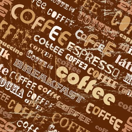 cappucino: coffee retro seamless pattern, tag cloud, vector illustration Illustration