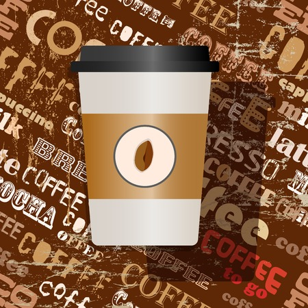 cappucino: disposable coffee, coffee to go, paper cup with tag cloud background, vector illustration