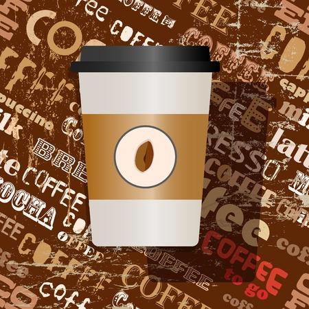 cappucino: wegwerp koffie, koffie te gaan, kartonnen beker met tag cloud achtergrond, vector illustratie