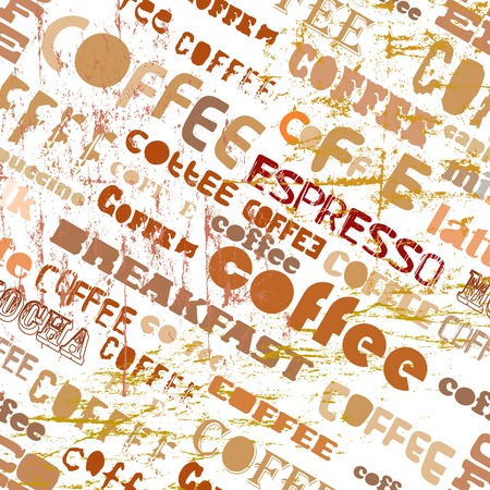 lath in modern: coffee retro seamless pattern, tag cloud, vector illustration Illustration