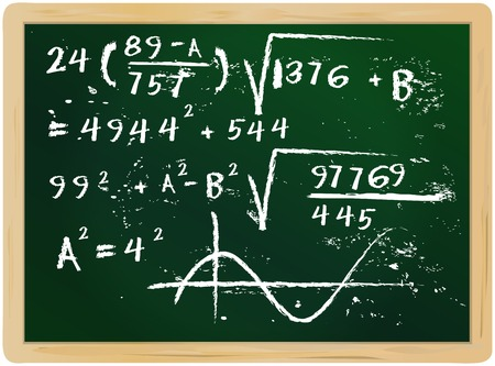 equation: fictional mathematics han drawn on chalkboard, vector illustration