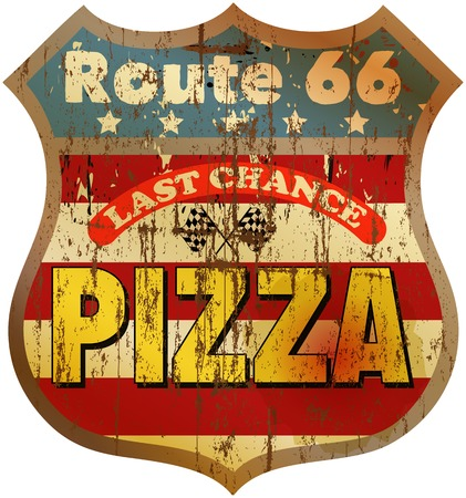 grungy, nostalgic route pizza diner sign, vector illustration Illustration