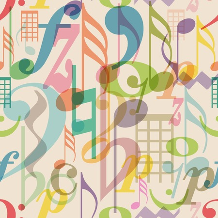 abstract music background: seamless pattern musical symbols, vector illustration Illustration
