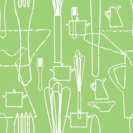 seamless pattern with kitchen utensils, vector Vector
