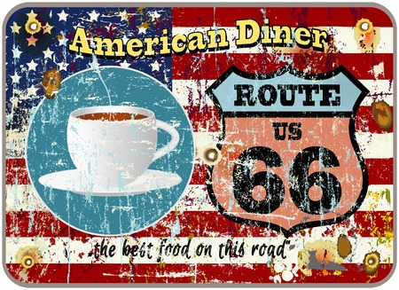 retro american diner sign, worn and weathered, vector eps Vector