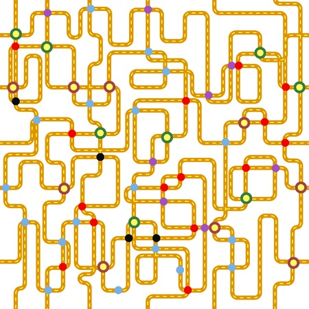 fictional: public transport or tube map (fictional), seamless pattern, vector
