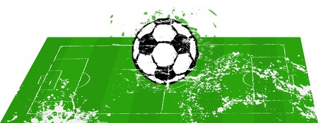 stage coach: Soccer o. Football field with ball grunge, style, isolated, vector