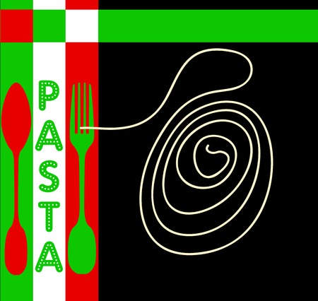 Italian Restaurant, pasta, noodles menu template, free copy space Vector