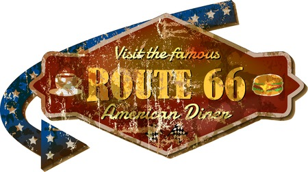 advertising signs: Route 66 retro diner sign, vector illustration Illustration