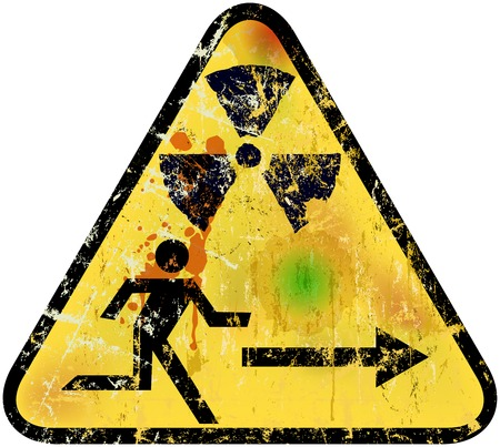 fallout: nuclear radiation emergency exit sign, vector illustration Illustration