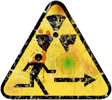 radiacion: radiación nuclear signo de salida de emergencia, ilustración vectorial