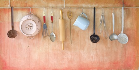 kitchen tools: vintage rustic cooking tools cooking concept free copy space Stock Photo