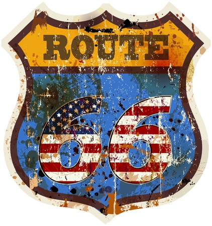 66: vintage route 66 road sign retro style vector illustration