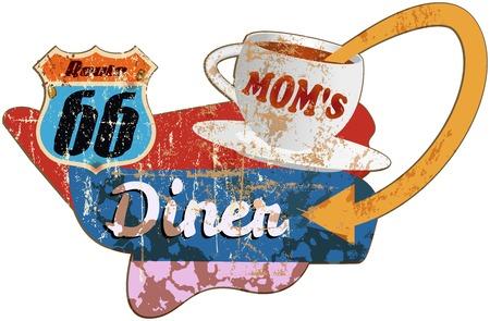 vintage diner sign Route 66 Advertising display Illustration