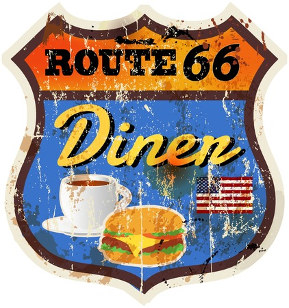 grungy Route 66 Diner sign retro style vector illustration