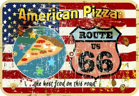 vintage sign: grungy, nostalgic route 66 pizza diner sign, vector illustration