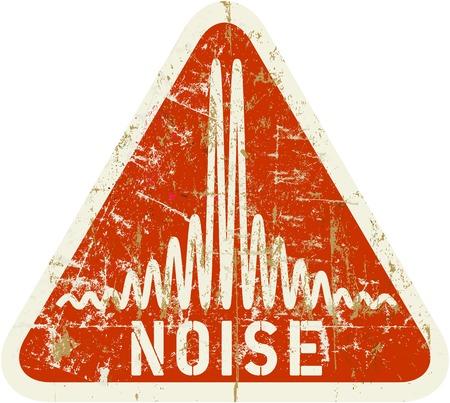 noiseless: noise warning sign, grungy style, vector illustration