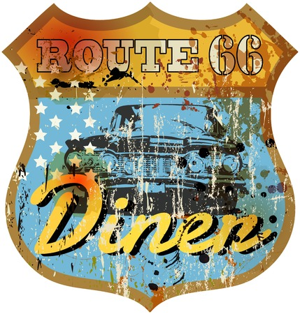 routes: vintage Route 66 Diner sign retro style vector illustration