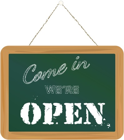 isolated sign: open sign on blackboard vector illustration