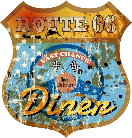 route: vintage route 66 diner sign, retro style, vector illustration