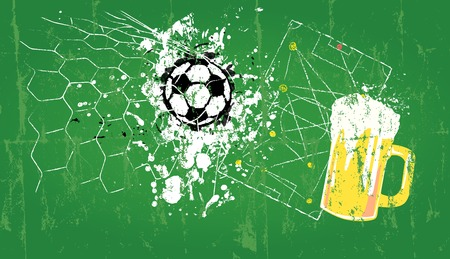 sports bar: grungy Soccer illustration and beer, free copy space, vector