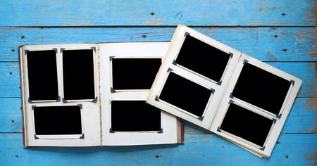 free photo: Vintage photo album with empty photo frames Photo corners free space for your pix