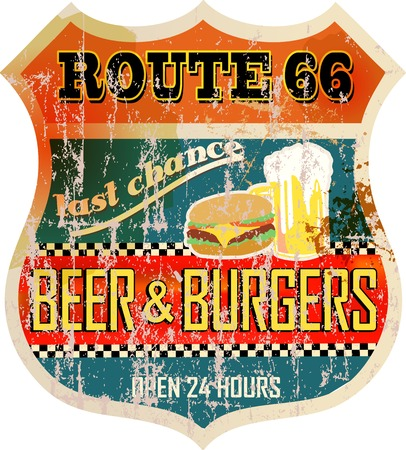 66: retro route 66 diner sign,vector