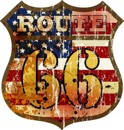 grungy route 66 road sign, retro style, vector illustration