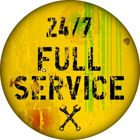 twenty four hours: twenty four hours service sign, vector illustration Illustration