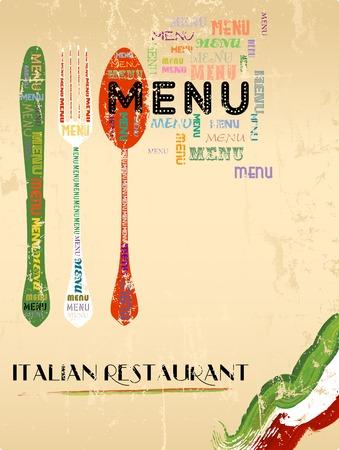 restaurante italiano: Diseño del menú para el restaurante italiano copia gratuita ilustración espacio vectorial
