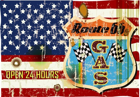 routes: grungy retro route sixty six gas station sign, vector illustration