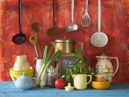 vintage kitchen: collection of vintage kitchen utensils and food ingredients Stock Photo