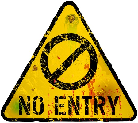 symbol sign: No entry sign, grungy style, vector Illustration