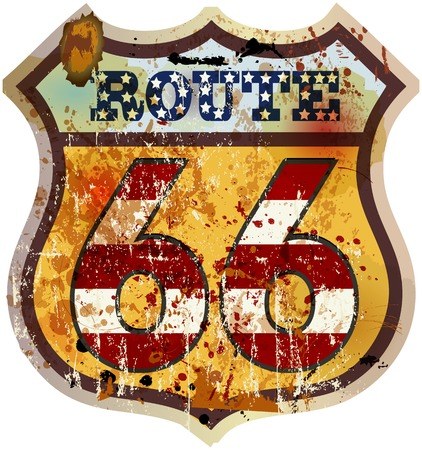 route 66: vintage route 66 road sign, retro style, vector illustration