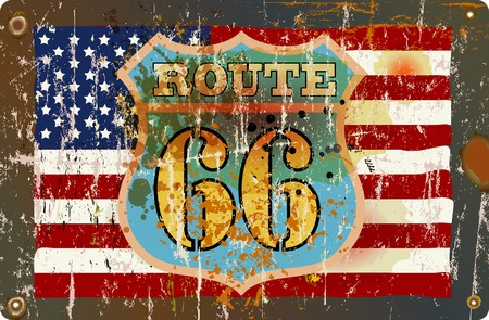 routes: grungy fictional famous route 66 road sign, retro style, vector illustration