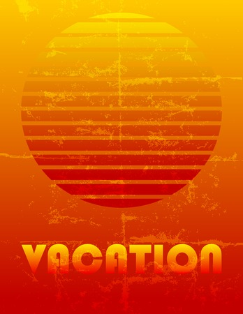 fictional: fictional retro vacation advertising, grungy style, free copy space