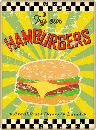 hamburgers: retro hamburger or diner sign, worn and weathered, vector eps Illustration