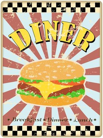 worn sign: hamburguesa retro o signo comedor, desgastado y degradado, vector