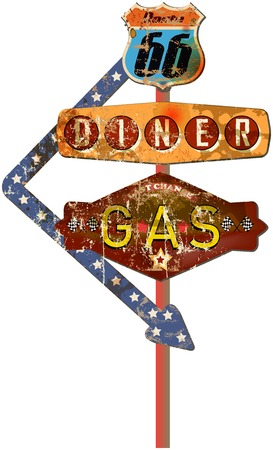 nostalgia: grungy retro route 66 gas station and diner sign, fictional artwork vector Illustration