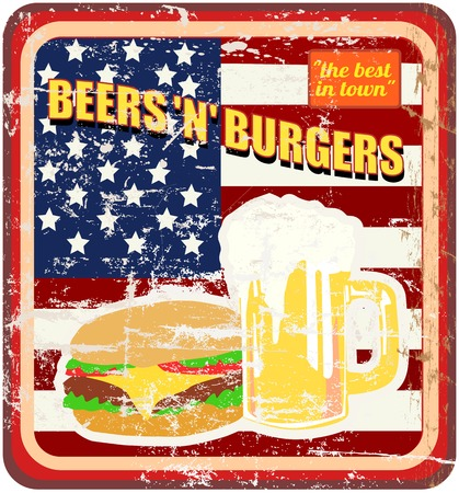 fictional: fictional retro diner sign, Beer and Hambugers, vector