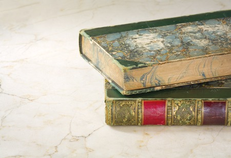 vintage document: old books,close up shot, free copy space Stock Photo