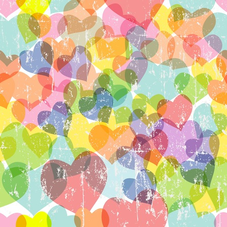 heart seamless pattern: grungy love and heart seamless pattern, vector illustration