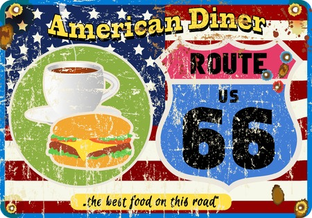 routes: vintage route 66 diner sign, retro style, vector illustration