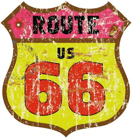 road design: road sign, fictional design retro style, vector