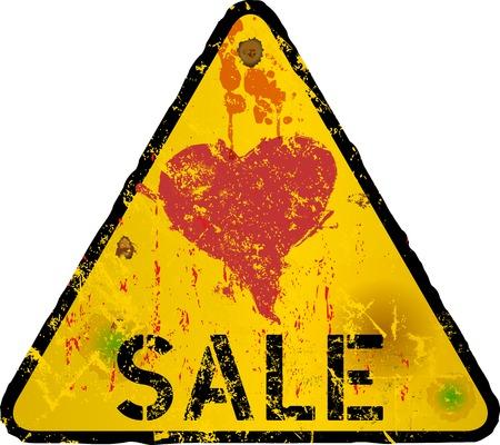 Yellow Sale Sign, grungy style, fictional artwork, free copy space, vector illustration Ilustração