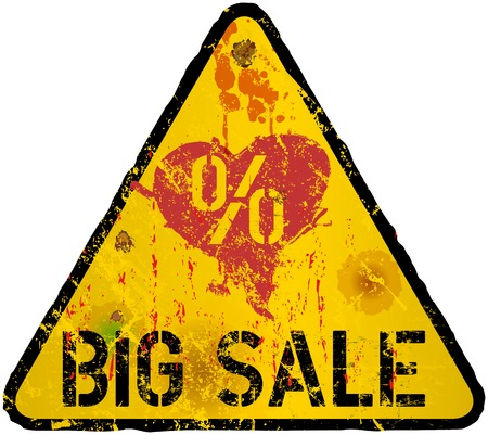 fictional: Yellow Sale Sign, grungy style, fictional artwork, vector illustration
