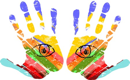 handprints: two hands with eyes, vector illustration Illustration