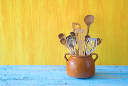 daily use item: kitchen utensils in an old pot, free copy spsce
